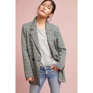 Anthropologie Cartonnier Long Plaid Blazer Jacket